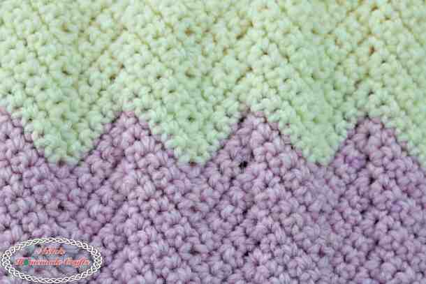 Chevron or Ripple Stitch made with single crochets using Caron Baby Cakes, by Nicki's Homemade Crafts