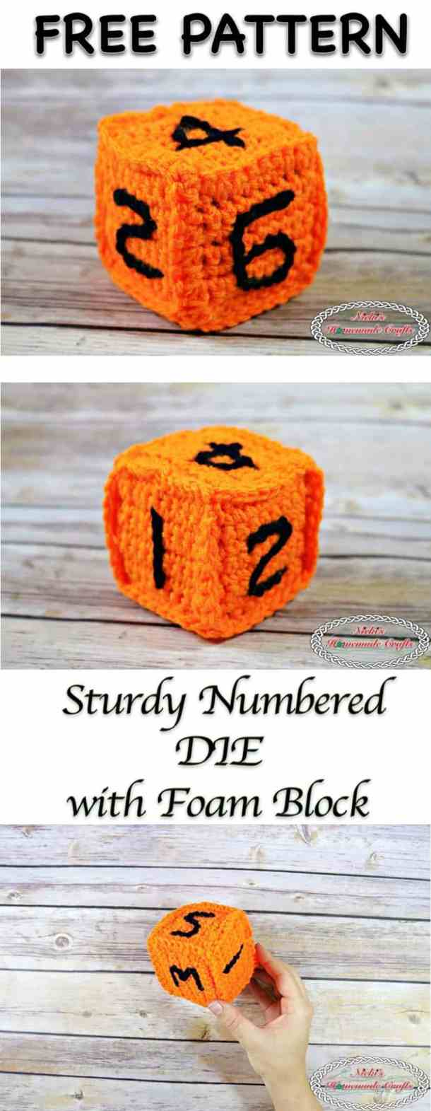 Sturdy Numbered Die with Foam Block - Free Crochet Pattern - Nicki's