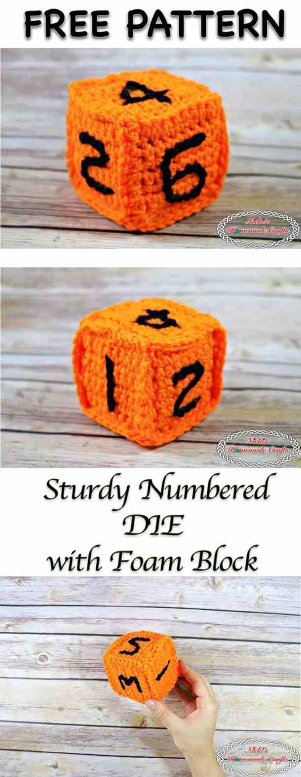 Sturdy Numbered DIE with Foam Block - Free Crochet Pattern by Nicki's Homemade Crafts - Make many dice for school kids