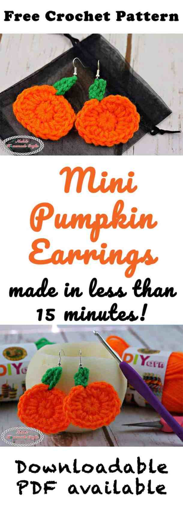 Mini Pumpkin Earrings - Free Crochet Pattern by Nicki's Homemade Crafts #halloween #pumpkin #freecrochetpattern #crochet #earrings