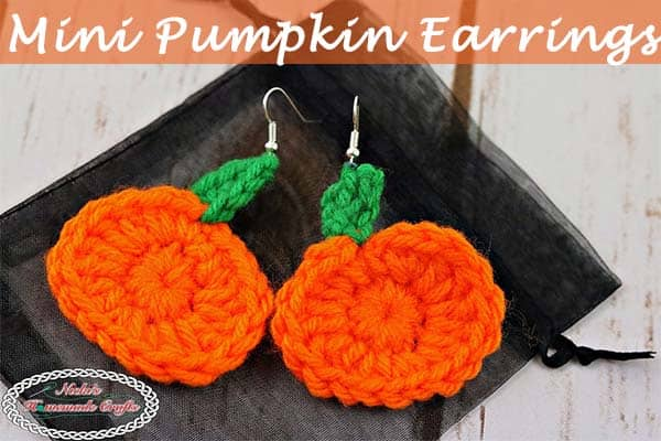 Mini Pumpkin Earrings - Free Crochet Pattern by Nicki's Homemade Crafts