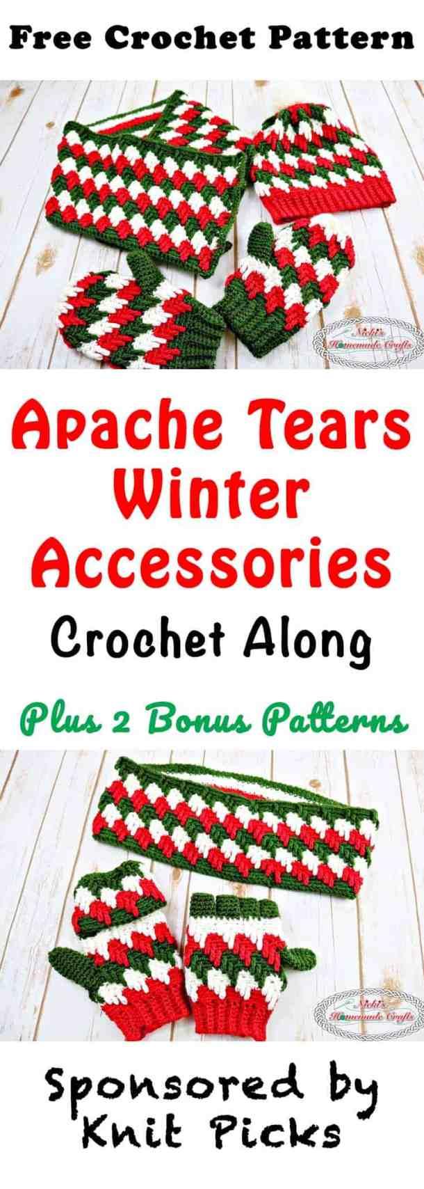 Apache Tears Winter Accessories Crochet Along-Free Crochet Patterns by Nicki's Homemade Crafts, Sponsored by Knit Picks #crochet #crochetalong #freecrochetpattern #apachetears
