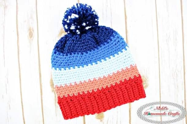 Sunset Hat With Night Sky Pom Pom Free Crochet Pattern Nickis