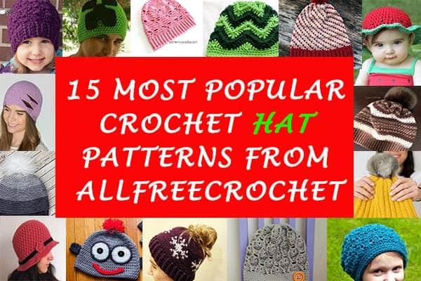 15 Most Popular Crochet Hat Patterns from AllFreeCrochet by Nicki's Homemade Crafts #crochet #patterns #free #allfreecrochet #hat #beanie #popular #best #collection