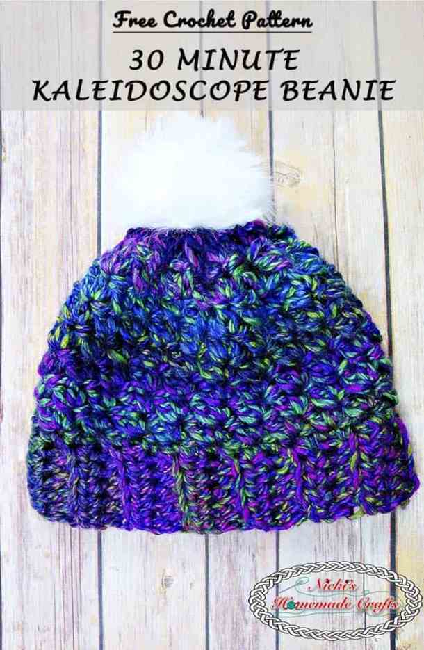 How to Quickly Crochet a 30 Minute Kaleidoscope Beanie - Free Pattern 2c4d456e51e