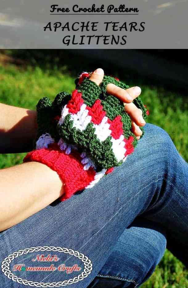 Apache Tears Glittens - Free Crochet Pattern by Nicki's Homemade Crafts #crochet #freecrochetpattern #glittens #mittens #gloves #winter #christmas #knitpicks