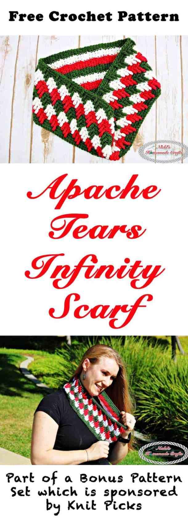 Apache Tears Infinity Scarf - Free Crochet Pattern by Nicki's Homemade Crafts #crochet #crochetalong #knitpicks #freecrochetpattern #infinityscarf #apachetears
