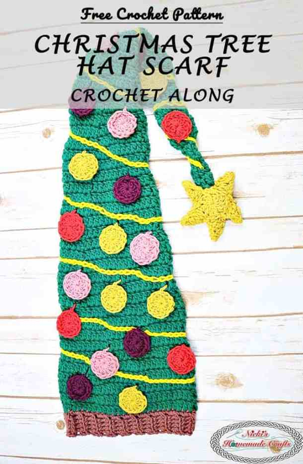 Christmas Tree Hat Scarf Free Crochet Pattern Crochet Along by Nicki's Homemade Crafts This Crochet Along is sponsored by DMC yarn and is super easy to make. And did I mention it is really fun to crochet and bring lots of join to the one wearing it. #crochet #christmas #tree #hat #scarf #ornaments #lights #crochetpattern #freecrochetpattern #free