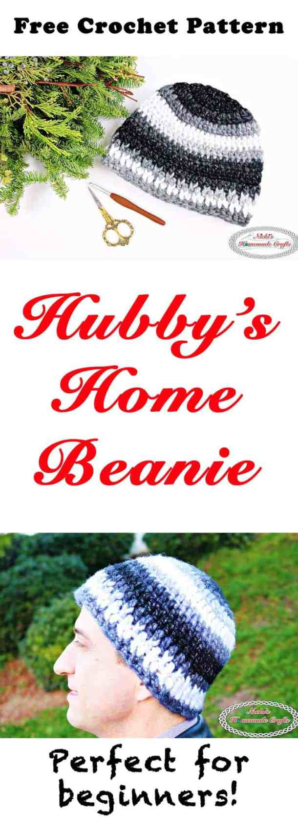 Hubby's Home Beanie Free Crochet Pattern by Nicki's Homemade Crafts #crochet #beanie #hubby #husband #home #freecrochetpattern #free #pattern #easy