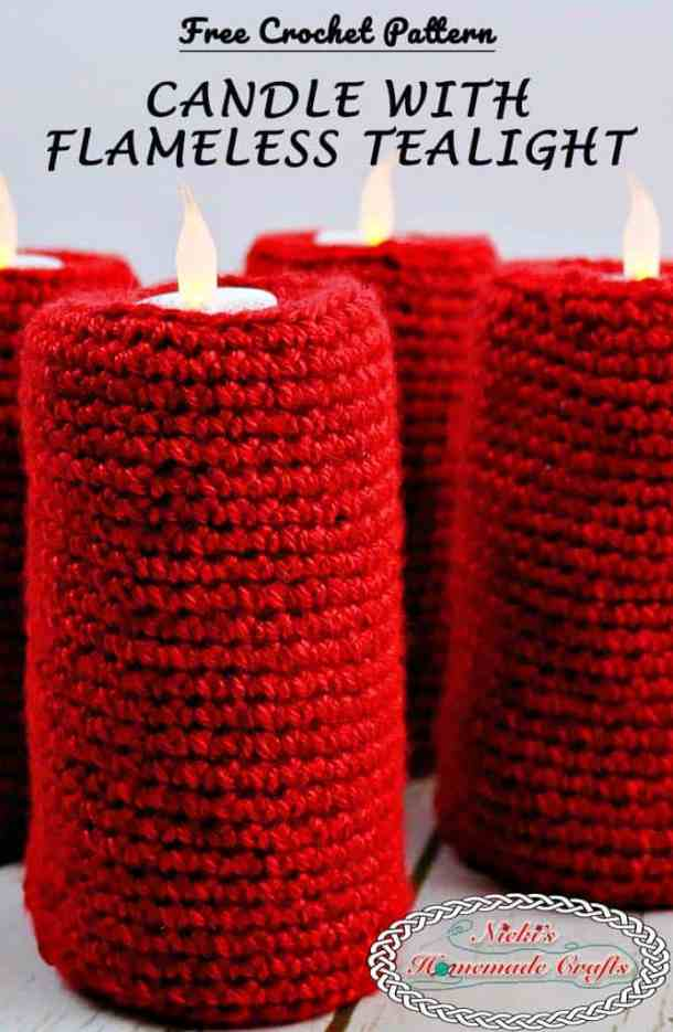 Candle with flameless tealight - Free Crochet Pattern by Nicki's Homemade Crafts