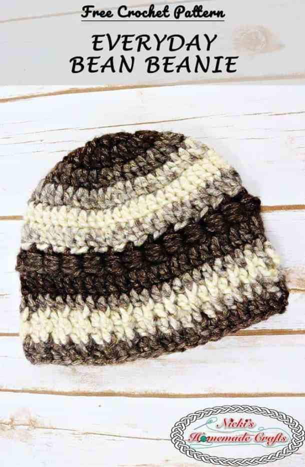 Everyday Bean Beanie featuring brown and beige colors and the bean stitch for a nice textured beanie - Free Crochet Pattern by Nicki's Homemade Crafts #crochet #pattern #everyday #freecrochetpattern #beanie #hat #easy