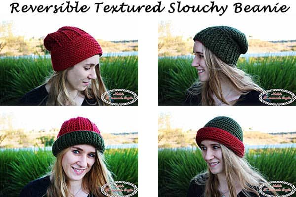 Reversible Textured Slouchy Beanie - Red Green shows every way how the beanie can be worn, showing only green or red, plus showing off the horizontal and vertical line textures of the beanie- Free Crochet Pattern -Nicki's Homemade Crafts #crochet #slouchy #free #pattern #red #green #textured #christmas #reversible #beanie #hat