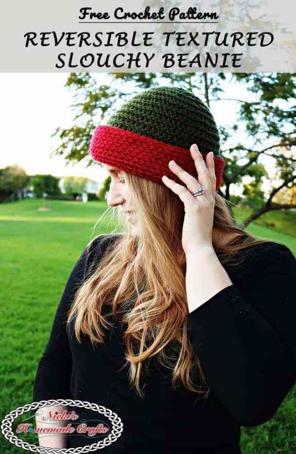 Reversible Textured Slouchy Beanie - Red Green horizontal lines for the beanie texture- Free Crochet Pattern -Nicki's Homemade Crafts #crochet #slouchy #free #pattern #red #green #textured #christmas #reversible #beanie #hat