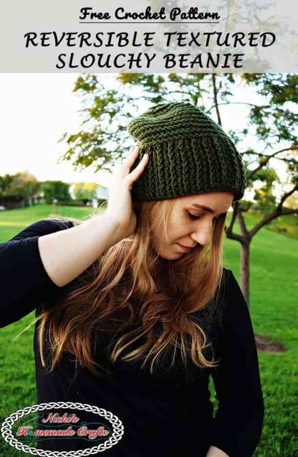 Reversible Textured Slouchy Beanie - Green slouchy beanie worn by me in a black shirt starring on the ground dreaming with grass and trees in the back - Free Crochet Pattern -Nicki's Homemade Crafts #crochet #slouchy #free #pattern #red #green #textured #christmas #reversible #beanie #hat