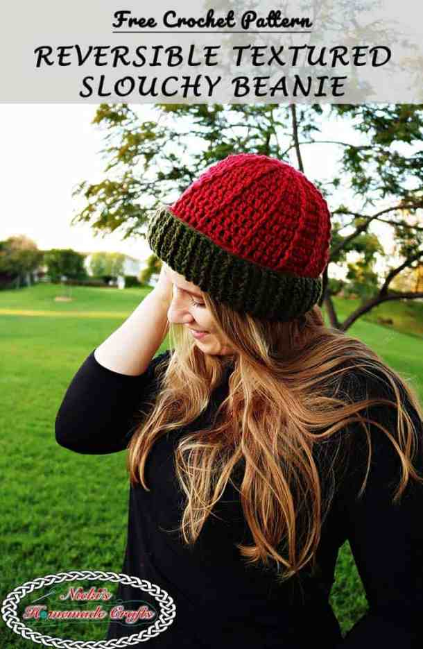 Reversible Textured Slouchy Beanie - Red Green horizontal and vertical lines for the beanie- Free Crochet Pattern -Nicki's Homemade Crafts #crochet #slouchy #free #pattern #red #green #textured #christmas #reversible #beanie #hat