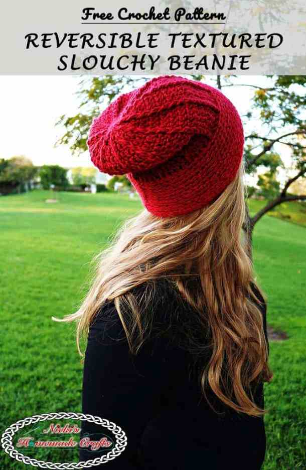 Reversible Textured Slouchy Beanie - Red slouchy beanie shown, worn by me and some grass and a tree in the background starring - Free Crochet Pattern -Nicki's Homemade Crafts #crochet #slouchy #free #pattern #red #green #textured #christmas #reversible #beanie #hat