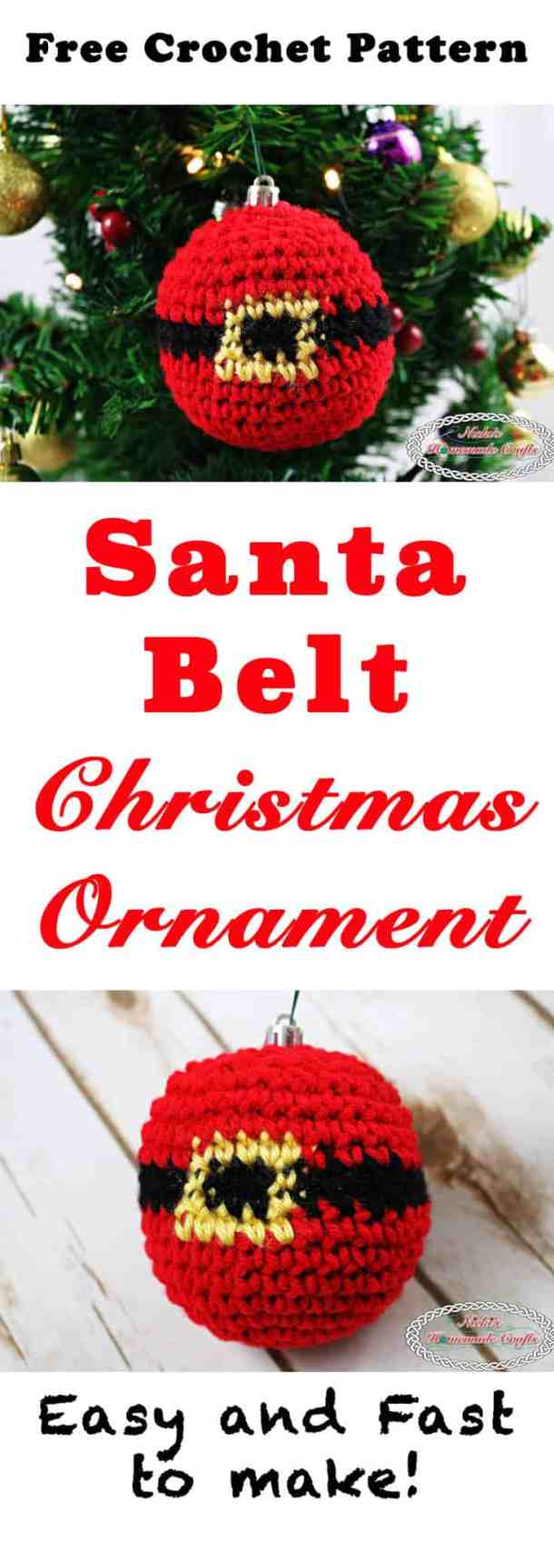 Santa Belt Christmas Ornament -filled crocheted ornament showing the belly of the Santa having the black belt with gold buckle - Free Crochet Pattern by Nicki's Homemade Crafts #crochet #ornament #christmas #winter #tree #free #crochet #pattern #belt