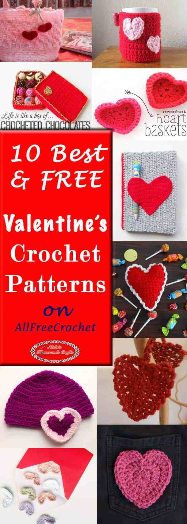 10 Best Free Valentine's Crochet Pattern on AllFreeCrochet by Nicki's Homemade Crafts #free #crochet #pattern #diyroomdecor #diy #room #decor #collection #Valentine #day #hearts #gifts #presents #quick #easy #AllFreeCrochet