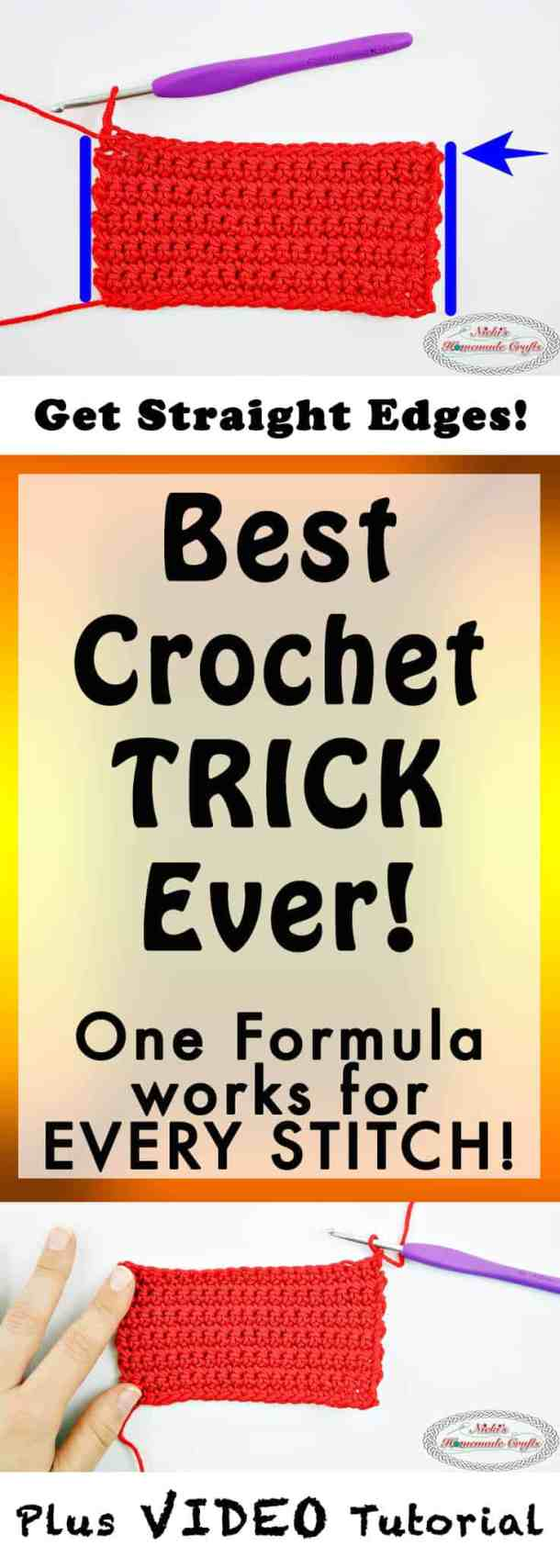 Best Crochet Trick Ever! How to always Crochet Straight Edges in Rows Every Time - Photo and Video Tutorial - Nicki's Homemade Crafts #crochet #straight #edges #rows #video #tutorial #always #best #perfect #basic #beginner #learn