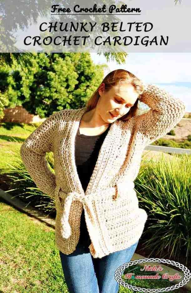 Chunky Belted Crochet Cardigan - Free Crochet Pattern by Nicki's Homemade Crafts #crochet #cardigan #free #crochet #pattern #cardigan #chunky #belted #easy #fast
