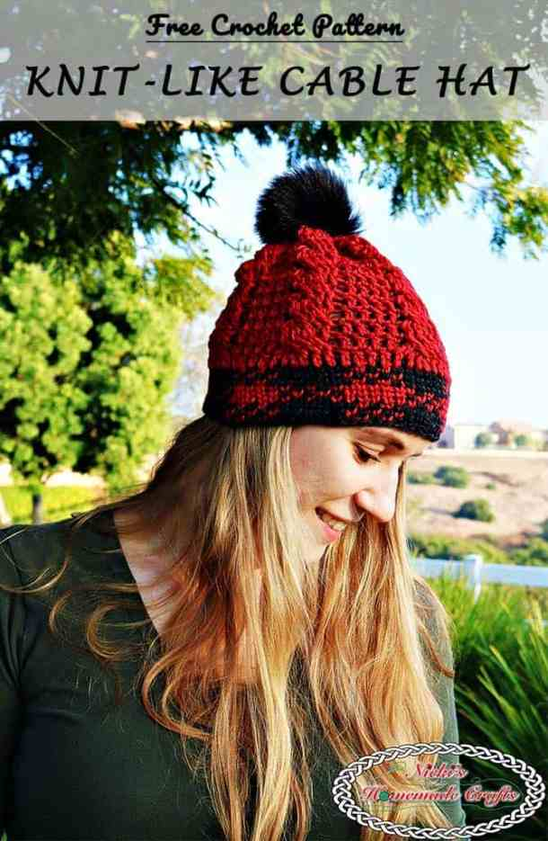 Knit-like Cable Hat Free Crochet Pattern by Nicki's Homemade Crafts #cable #waistcoat #stitch #red #black #free #crochet #pattern #knit #like