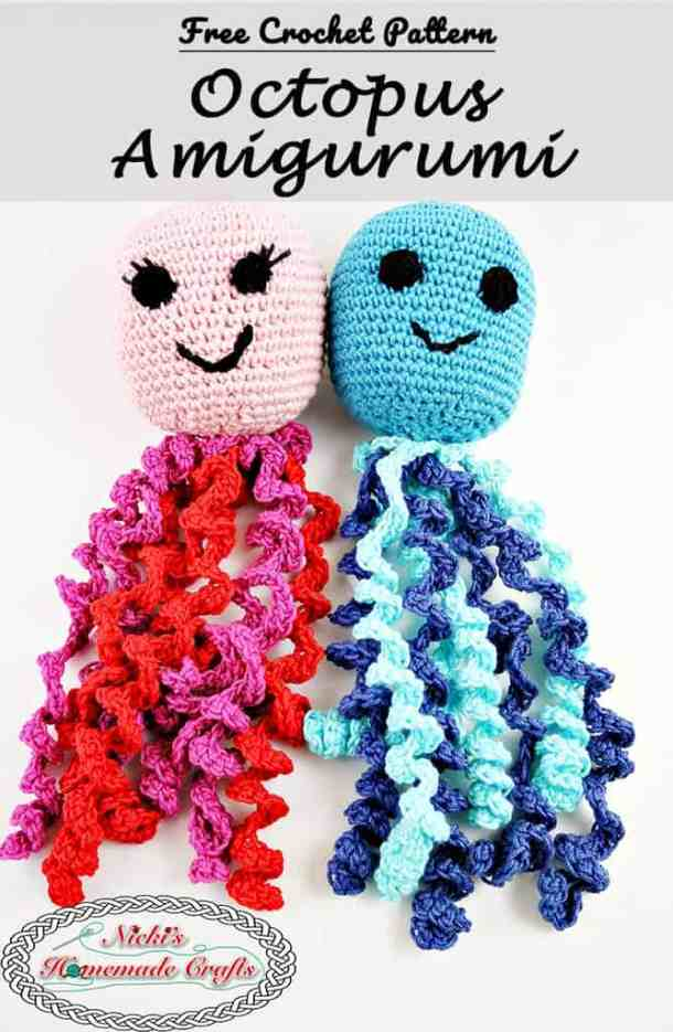 Octopus Amigurumi for Boy and Girl Preemies - Free Crochet Pattern by Nicki's Homemade Crafts #crochet #octopus #preemies #premature #babies #girl #boy #red #blue #smile #cute #adorable #octopuses #octopi #crochet #pattern #free
