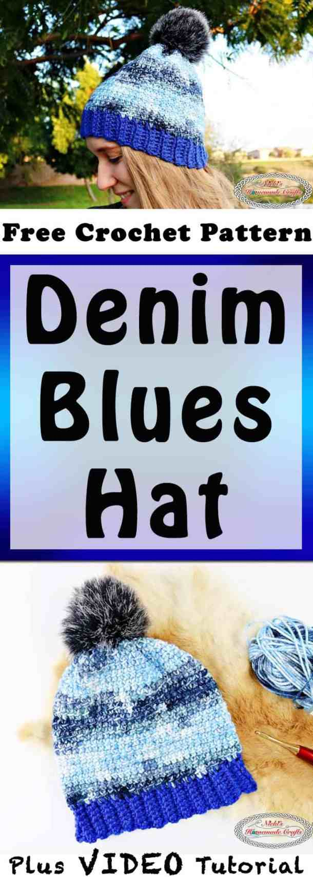 Denim Blues Hat which is a Free Crochet Pattern by Nicki's Homemade Crafts
