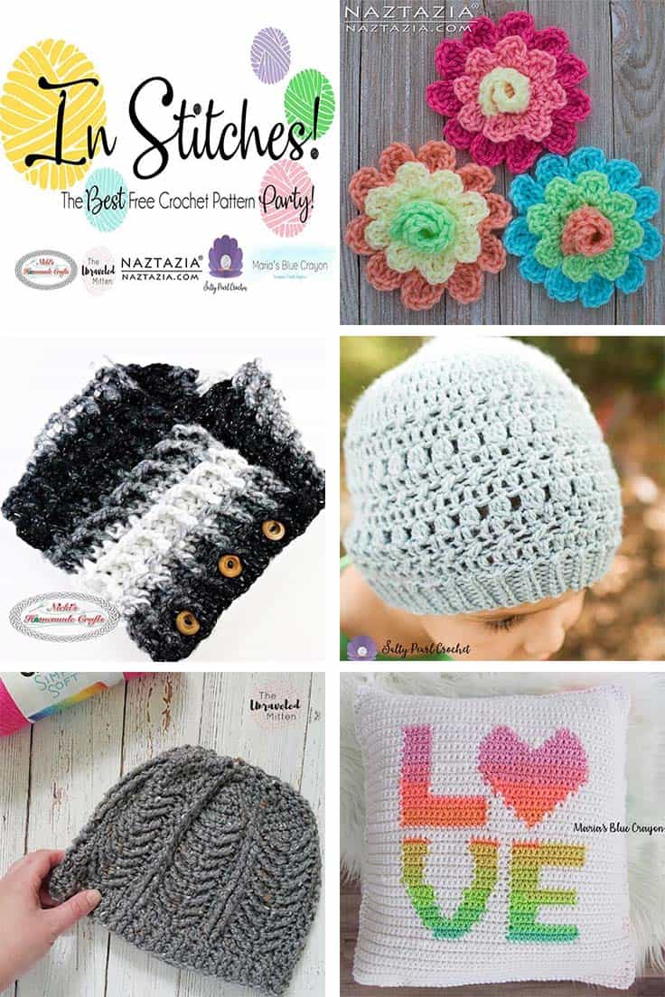 In Stitches is The Best Free Crochet Pattern Party which features the top 5 free crochet patterns clicked every week. This weeks feature are the Waffle Cowl, Love Pillow, Makenzie Beanie, Torque and Flowers