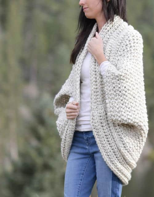 Thick white Cardigan which is part of a collection including 10 Free Crochet Cardigan Patterns all from AllFreeCrochet compiled by Nicki's Homemade Crafts - Crochet Cardigan, Crochet Jacket, Crochet Sweater, Crochet Wrap, Crochet Shawl