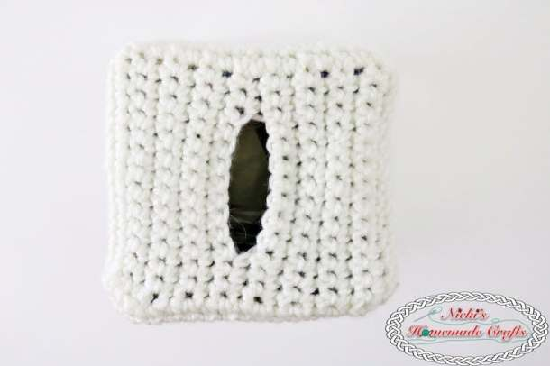 Panda Bear Tissue Box Cover which is a Free Crochet Pattern by Nicki's Homemade Crafts featuring just the white body of the panda bear plus the opening where the tissues are pulled out