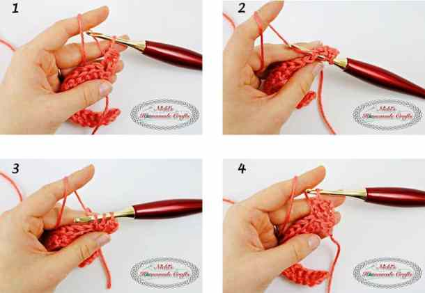 This shows how to crochet the Linked Half Double Crochet Part 3