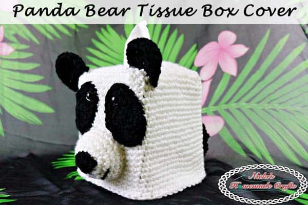 Panda Bear Tissue Box Cover – Free Crochet Pattern