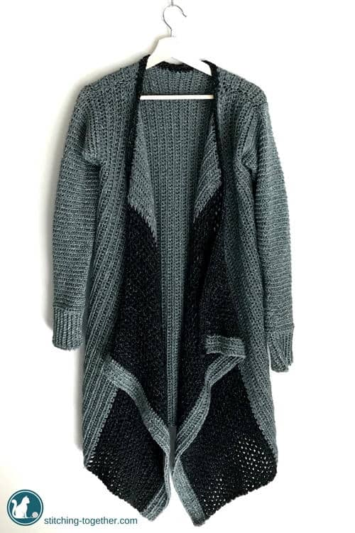Long Grey and Black Cardigan which is part of a collection including 10 Free Crochet Cardigan Patterns all from AllFreeCrochet compiled by Nicki's Homemade Crafts - Crochet Cardigan, Crochet Jacket, Crochet Sweater, Crochet Wrap, Crochet Shawl