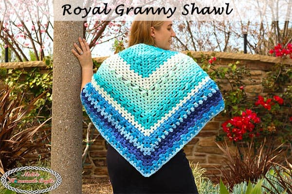 Simple Royal Granny Shawl - free crochet pattern - blue, caron cake, elegant, stunning, easy, fast, scarf, triangle