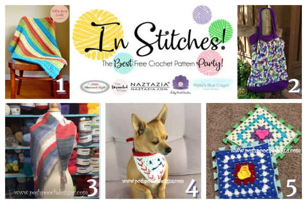 In Stitches - Best Free Crochet pattern Party 11 features blankets, shawl, bag, and dog accessories