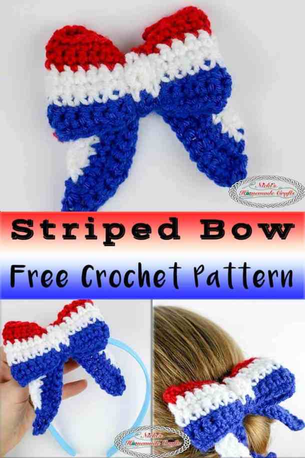How To Crochet A Bow In Striped Colors Perfect For 4th Of July