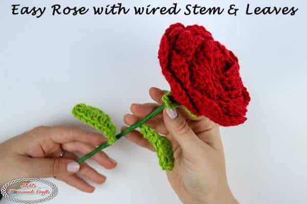 Easy Crochet Rose Pattern with wired Stem and Leaves