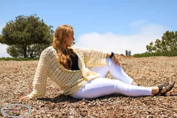 Seashell Cardi pattern to crochet in beige
