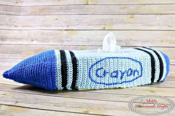 Crayon Tissue Box Cover Free Crochet Pattern for Back to School