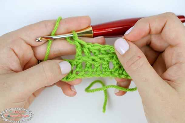 row of back post double crochet stitches