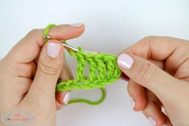 row of treble crochet stitches