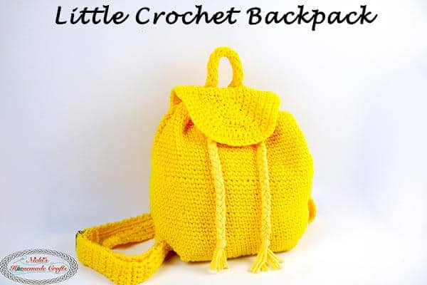 yellow little crochet backpack - free crochet pattern