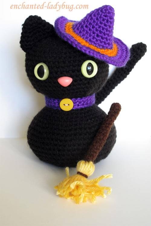 free crochet amigurumi halloween black cat