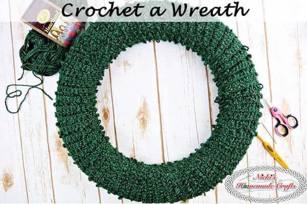 crocheted pine needle wreath for christmas