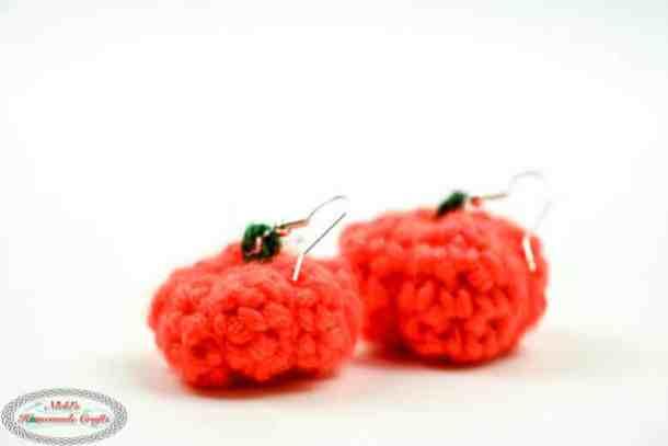 Crochet Pumpkin Earrings small