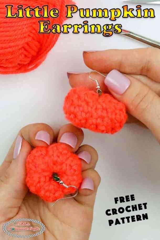 Pumpkin Earrings Crochet Small - Free Crochet Pattern