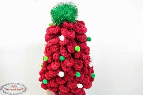 Loop yarn Christmas Tree with Pom poms