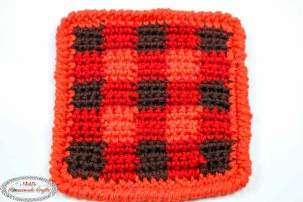 Crochet Plaid Coaster