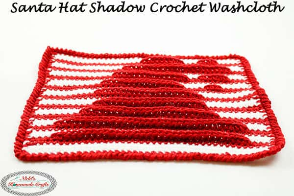 Santa Hat Washcloth with Shadow Crochet - free pattern