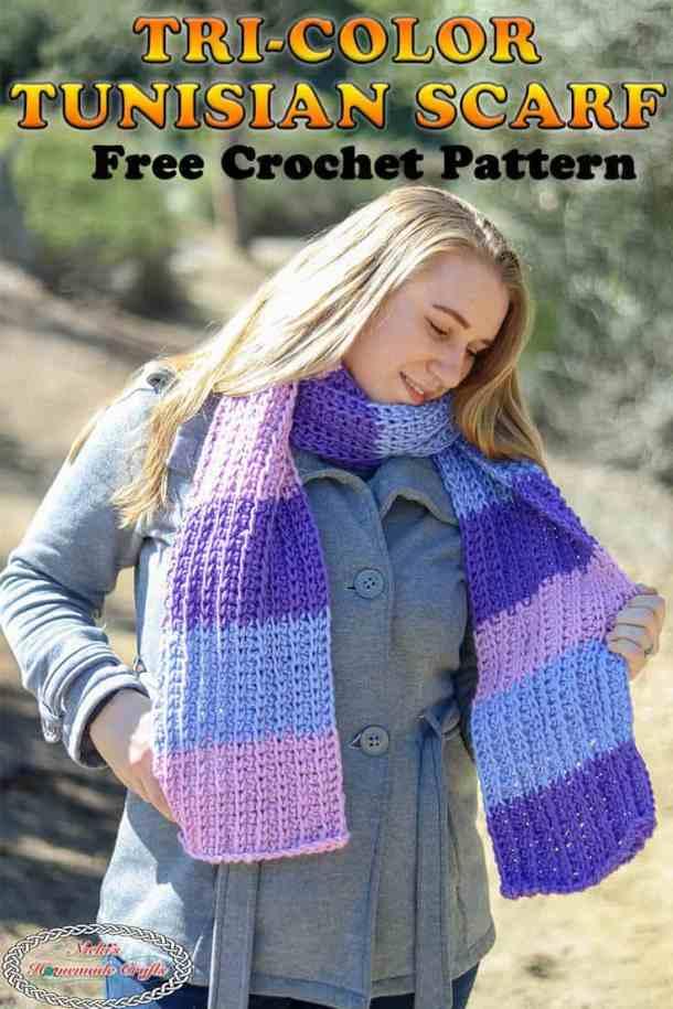 Crochet the Tri-Color Tunisian Scarf - Free Pattern